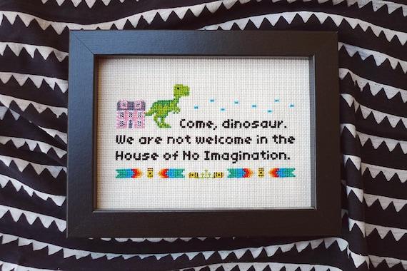 Friends TV show • Funny Cross Stitch Gift • Dinosaur • Phoebe Buffay • Modern embroidery • Wall art
