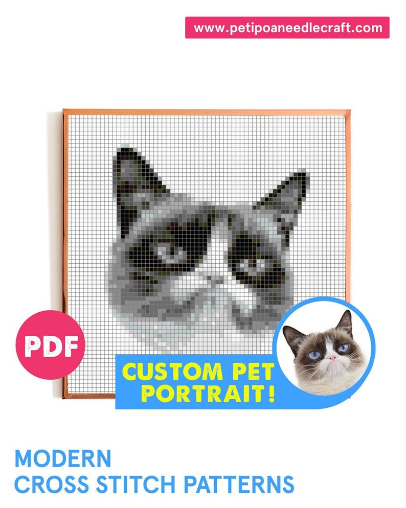 Pet Portrait  Cross Stitch Pattern Modern  Digital download image 0