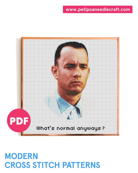 Forrest Gump Cross Stitch Pattern • Digital Download PDF • Film Quote Xstitch • Tom Hanks • Cult Movie Cross Stitch • Modern embroidery