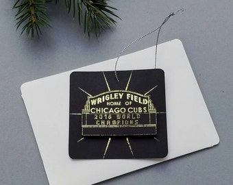 Chicago Cubs Wrigley Field Ornament Chicago Christmas Baseball Ornament