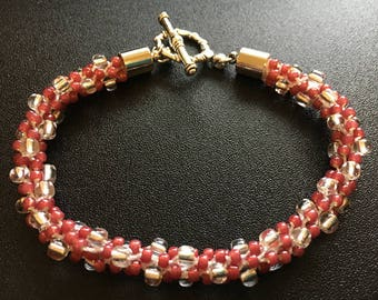 Rose Kumihimo Beaded Bracelet