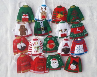ugly christmas jumperssweaters christmas tree decorations can be bought individually or as a set of 5 10 or 15