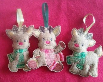 Cute embroidered reindeer Christmas Tree decorations,  can be brought individually or as a set of 3.