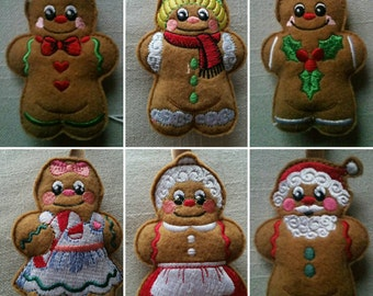 Cute gingerbread  Christmas tree decorations can be brought individually or as a set of six