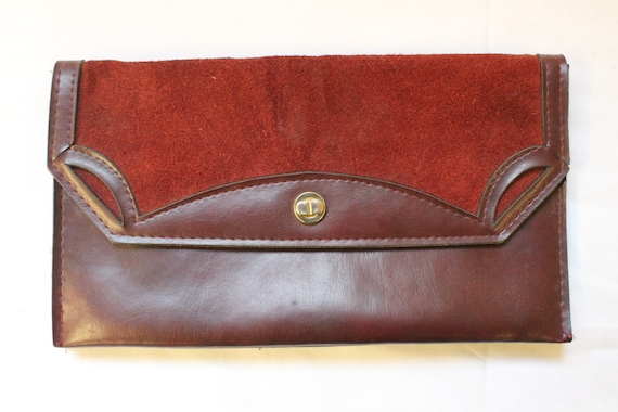 Vintage Red Burgundy Leather Purse with Suede Panel