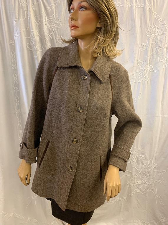 1960's Vintage Brown St.Michaels Wool Coat, Size 14 (Uk )