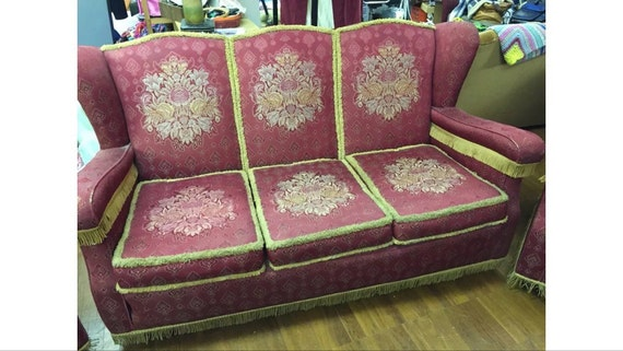 Vintage three seater sofa and two armchairs