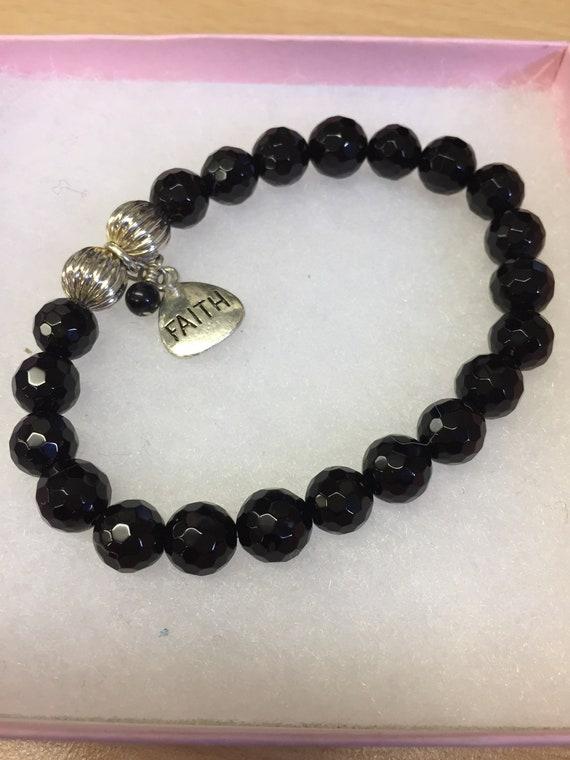 Hand made black bead 'faith' bracelet