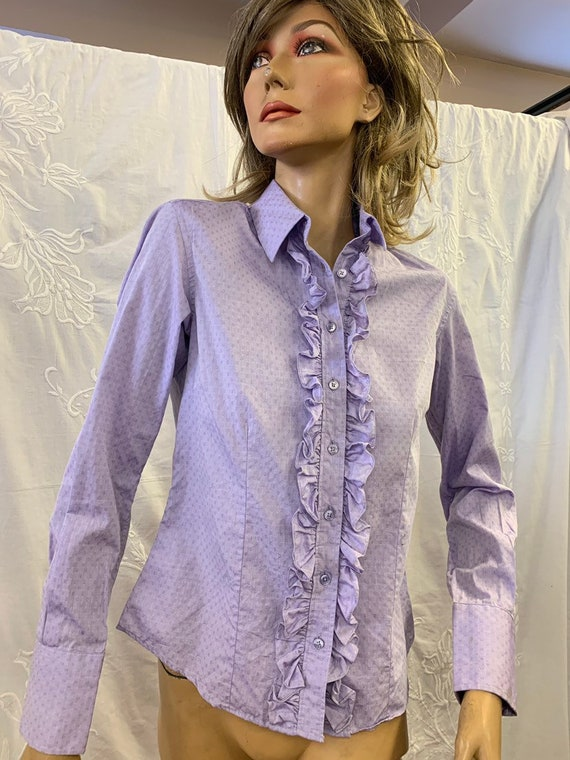 Ladies lilac frilly fronted shirt size Uk 10