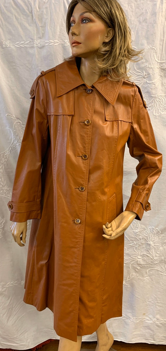 1970's burnt orange leather coat size Uk 10-12
