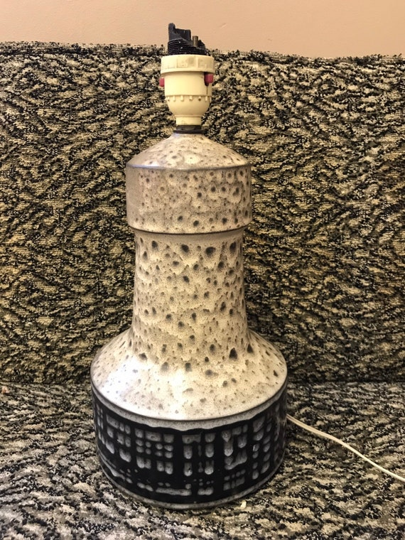 Handmade Vintage/retro Iden pottery lamp. Glazed in grey, black and beige. needs rewiring