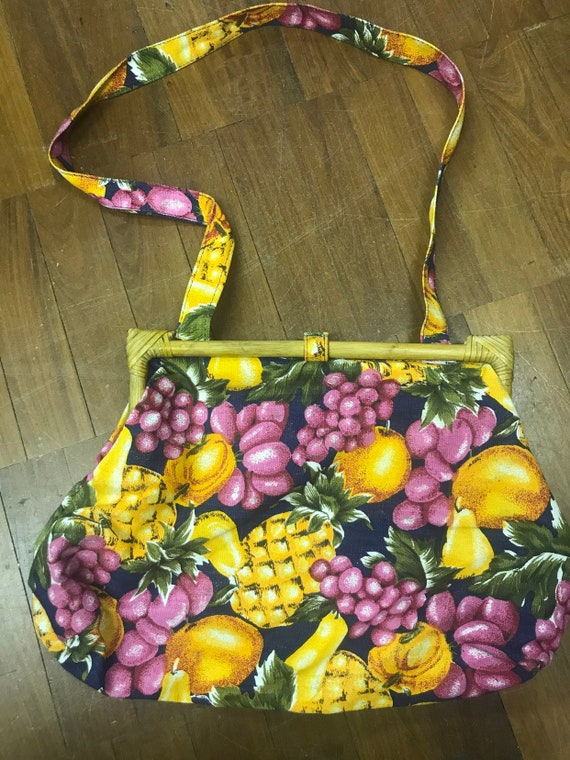 1990's fruity fabric shoulder bag with cane opening