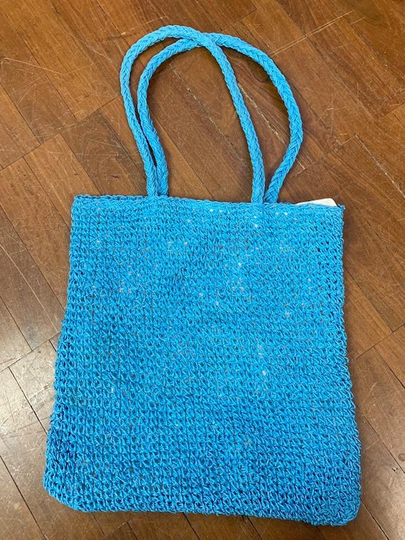 Vintage 1980's blue raffia knitted shoulder bag