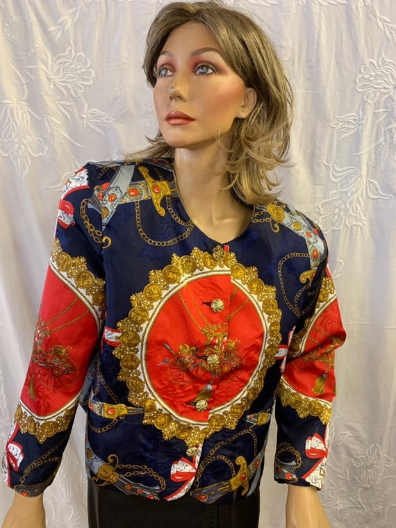 Vintage Bomber jacket with  royal carriage  theme size 12-14  made buSilkworms
