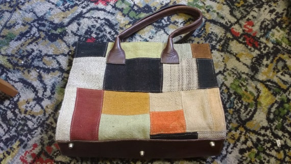 Vintage Large Patchwork Bag Handbag Autumnal Colours