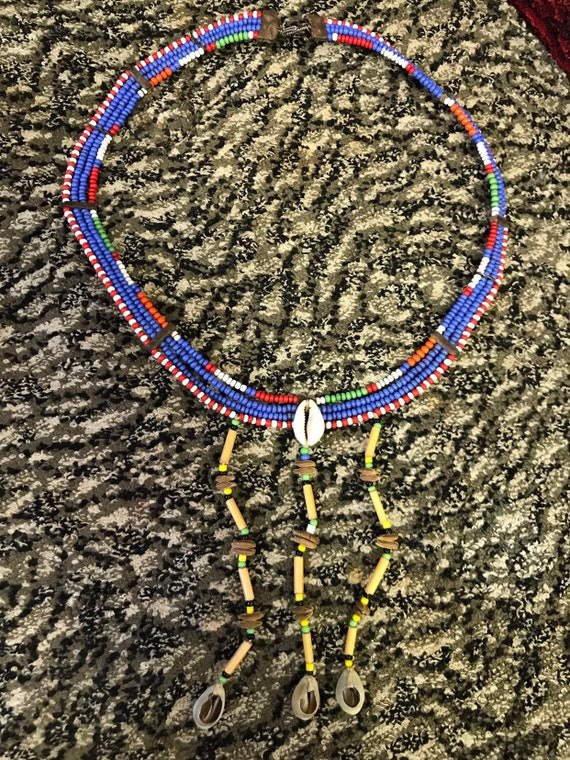1950's african beaded necklace