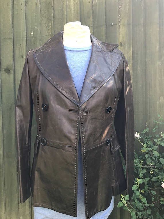 Vintage 1980's brown leather jacket