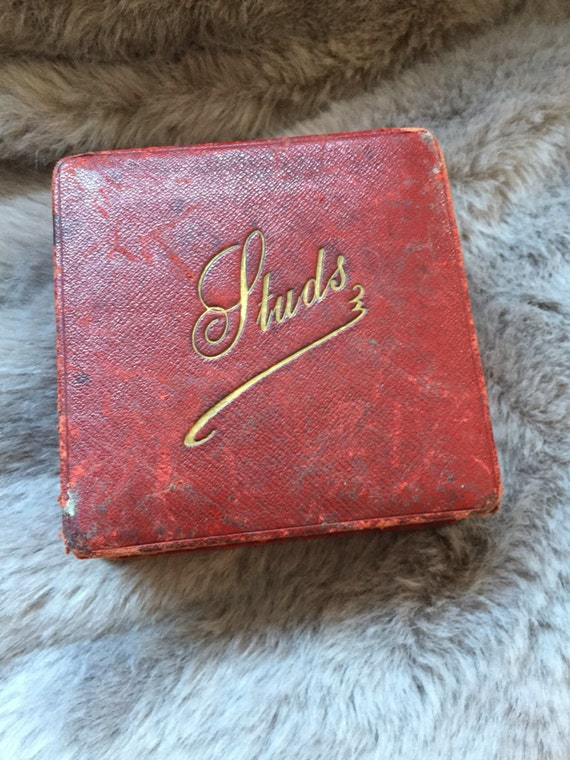 1940's red leather stud box