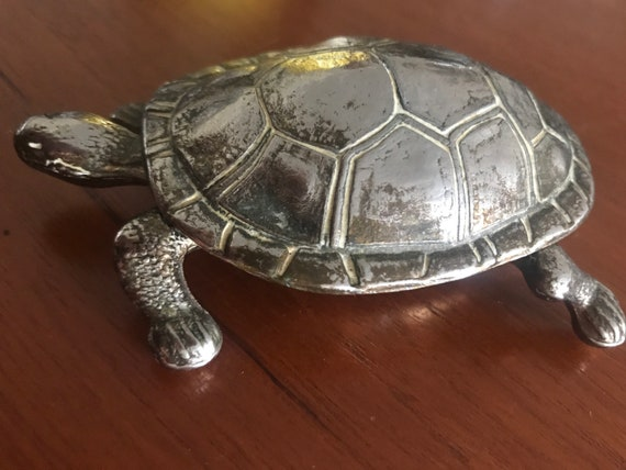 Vintage tortoise with hinged lid/ trinket dish