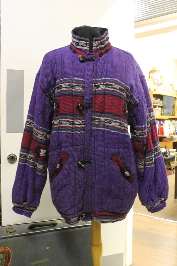 Vintage 1980's Colourful Fabric Thick Warm Jacket