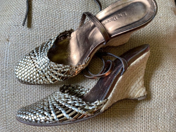 Vintage L.K Bennett gold and silver leather wedge sandals  with ankle straps size 36/ uk 3