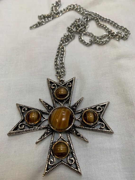 Vintage retro hippy 1970's cross pendant with faux tigers eye beads