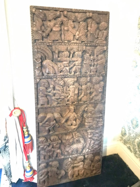 Stunning vintage African tribal wooden carving/ wall decor/door/table too