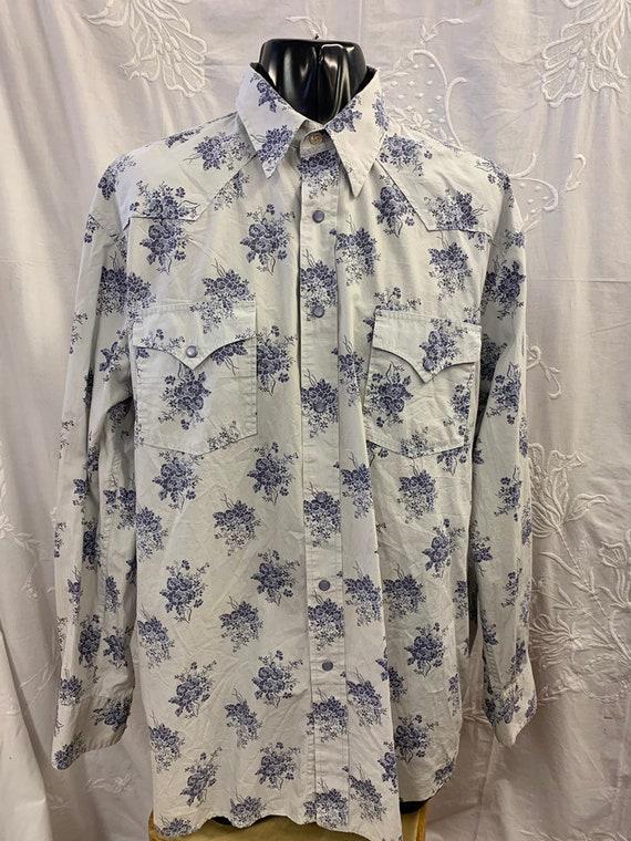 Vintage Mens Lucky Brand floral print cotton shirt. Size XL
