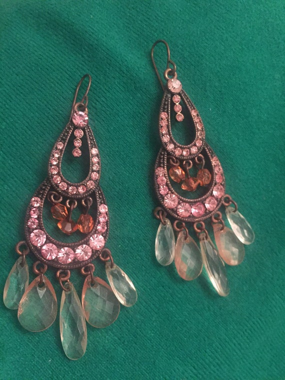 Pink gemstone chandelier earrings