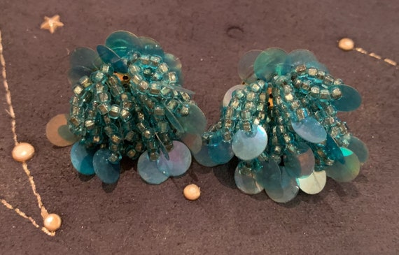 Beautiful vintage blue beaded and sequinned 1980's earrings