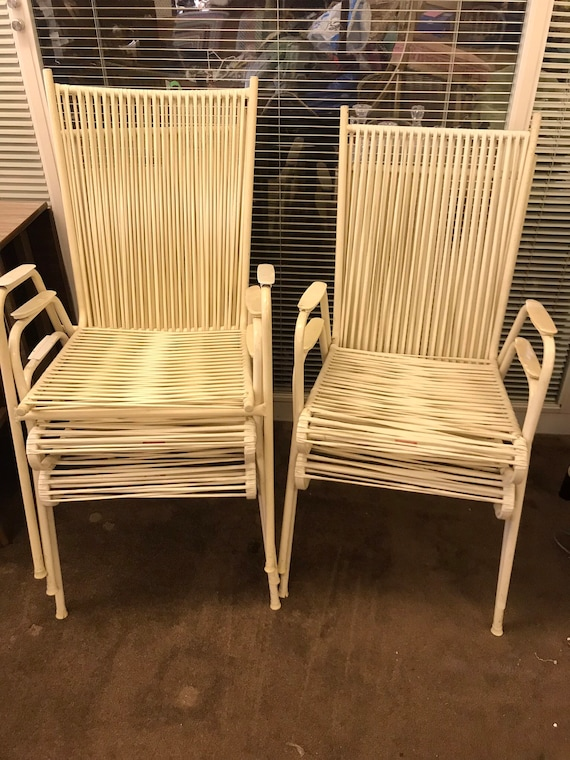 5 x 1950's white plastic garden chairs