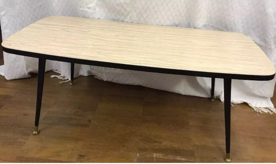 Mid century vintage retro formica wood effect top table with tapered legs
