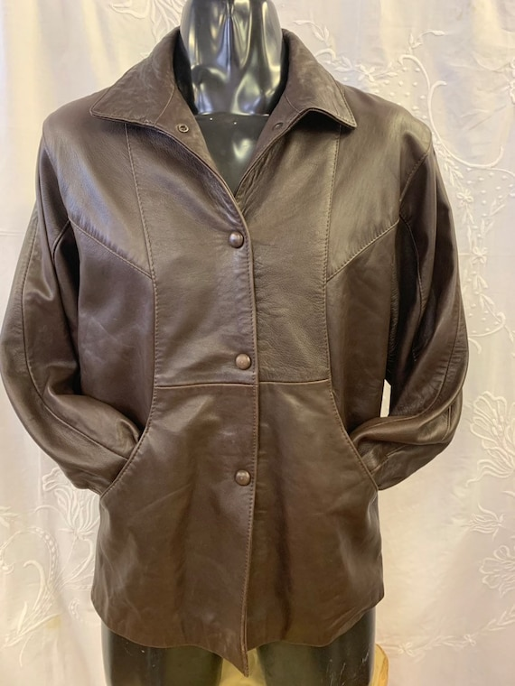 Unisex vintage 1980's leather jacket ladies XS/Mens S