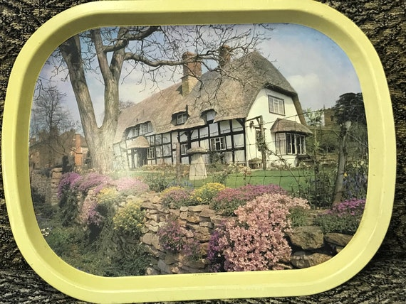 Worcester ware tray showing thatched cottage