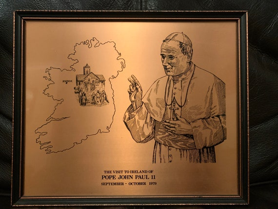Copperwear art showing the visit of Pope John Paul 2nd to Ireland in 1979