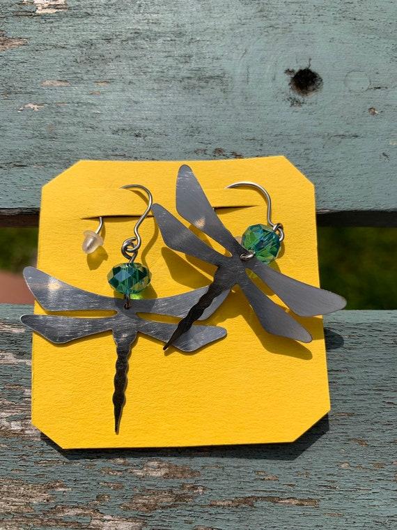 Handmade dragon fly earrings