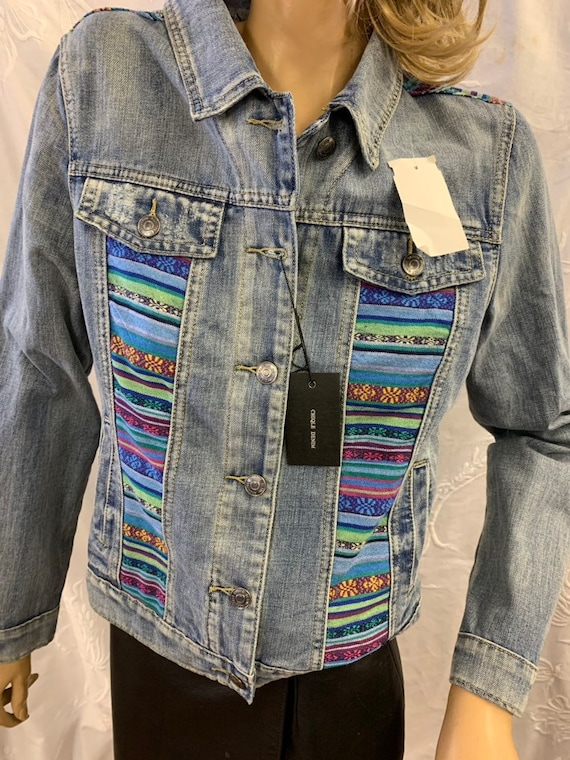 Vintage patchwork denim jacket size uk medium