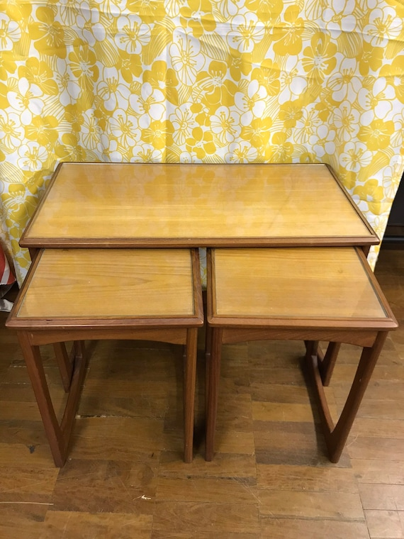 G plan quadrille mid century nest of 3 tables with glass top