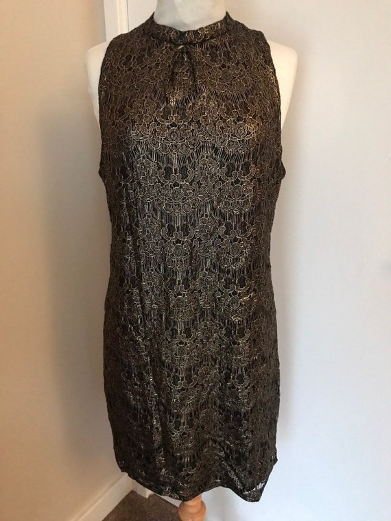 1990s vintage black and gold lace l dress size L/uk 14