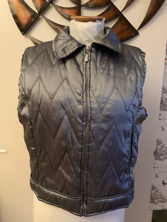 1980's metallic silver grey body warmer size L