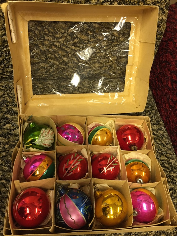 12 vintage hand painted Christmas baubles/ tree decorations