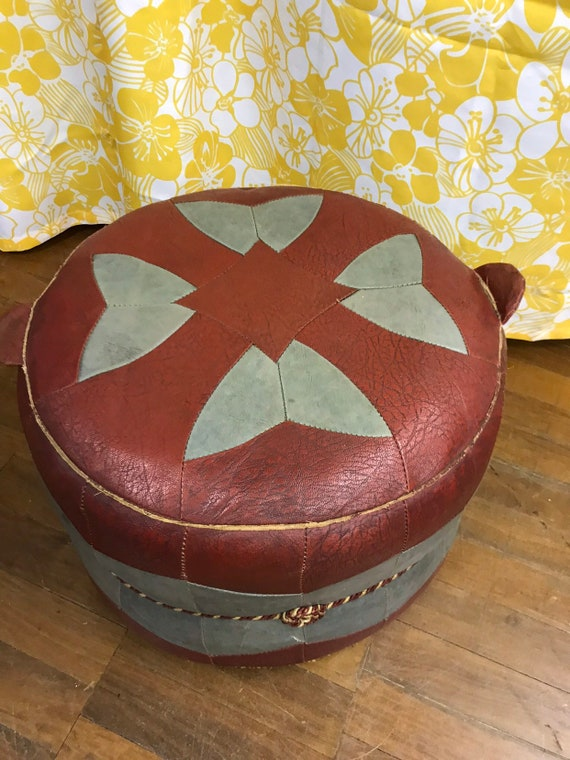Stunning vintage mid century burgundy and grey leather drum  pouffe/ seat
