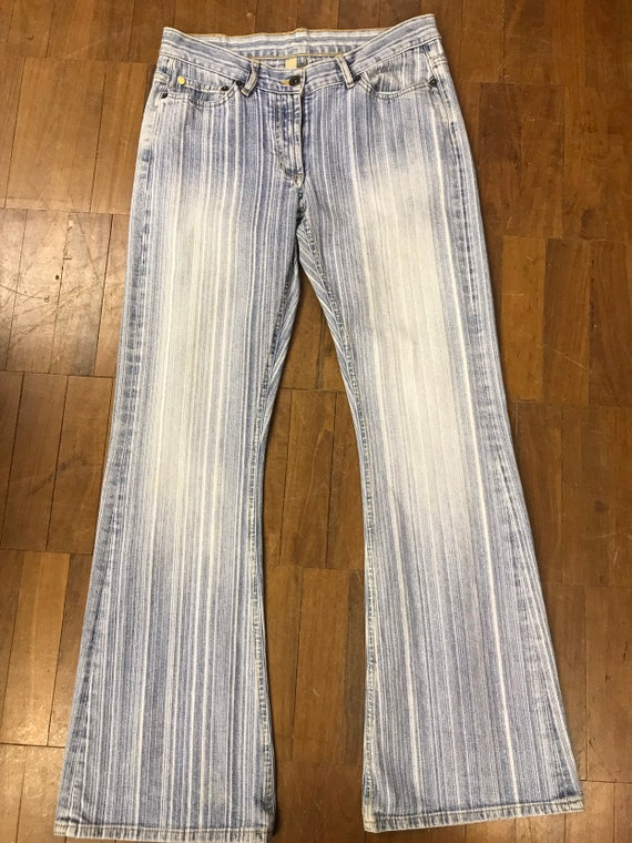 "Vintage 1990's Ted Baker stonewashed striped jeans. 30"" waist"