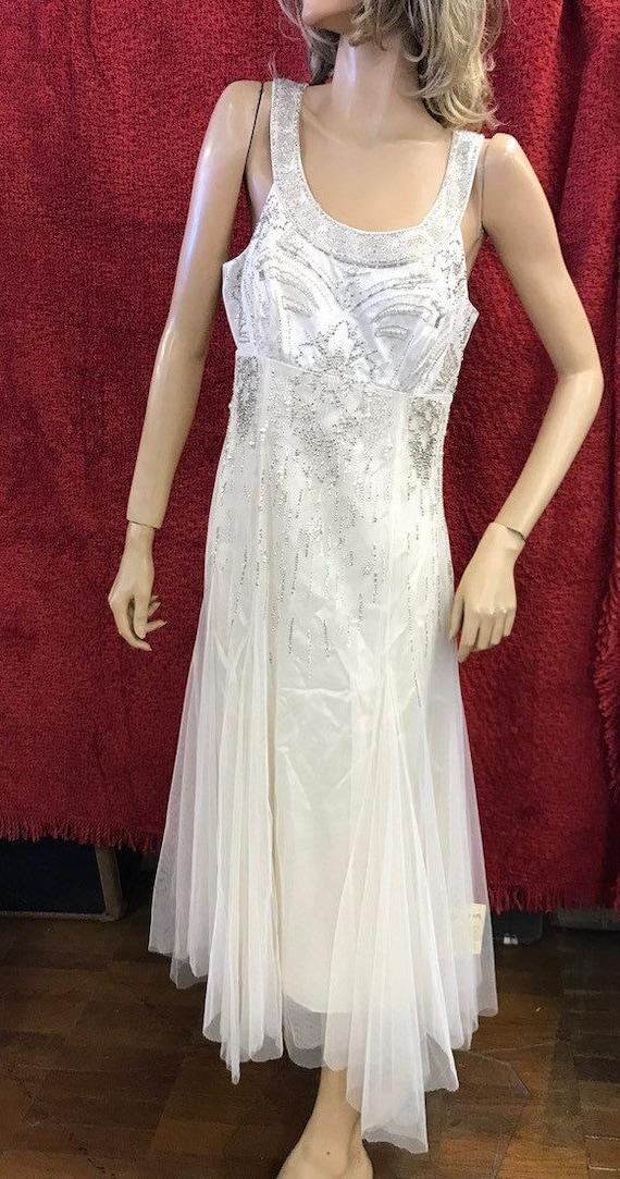 Ladies vintage silk monsoon bridal range dress with netting and beaded details size uk 12