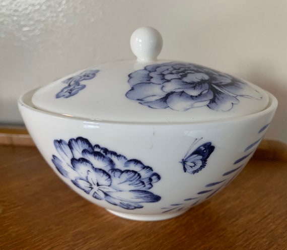 Wedgwood Blue and white pot with flowers and butterflies