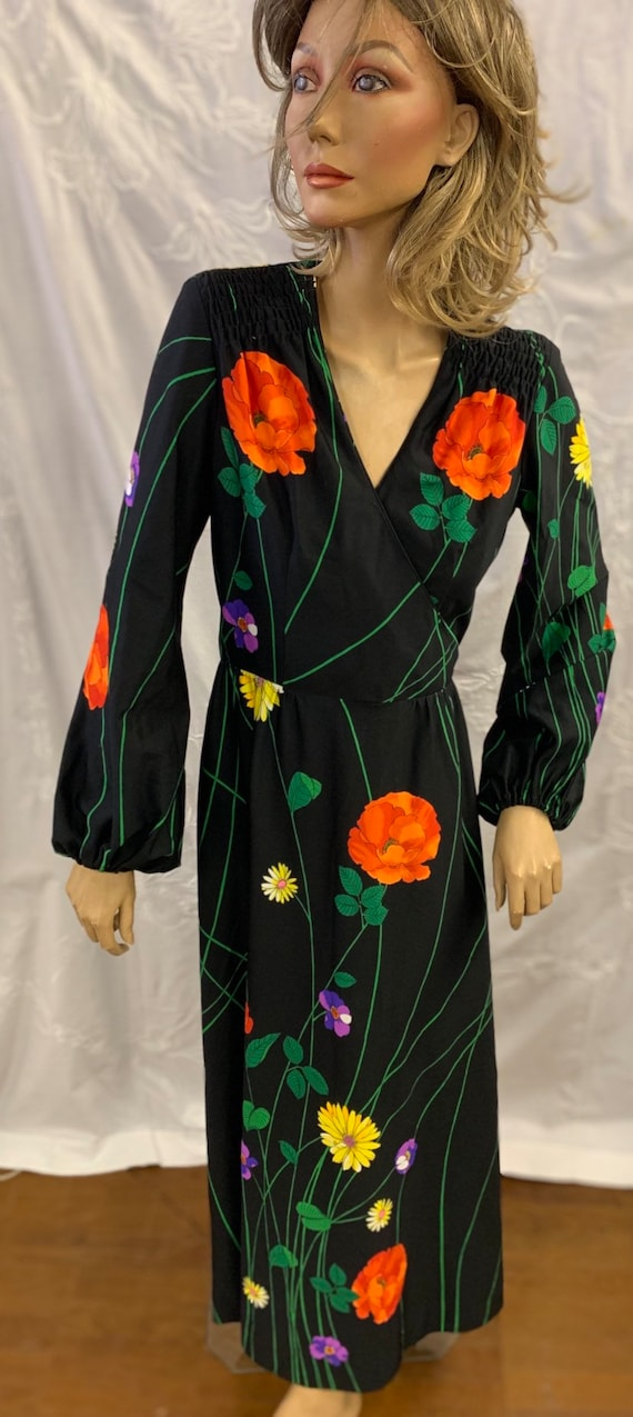 1970's floral full length dress hand made in Hong kong by Tori Richard size 12