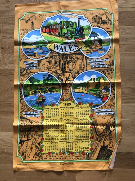 Vintage tea towel of Wales 1989