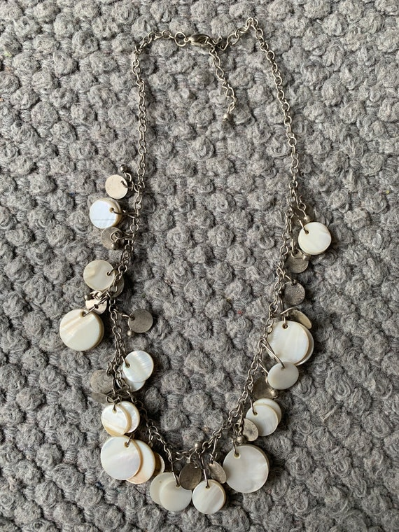 Silver metal and mother of pearl drop necklace