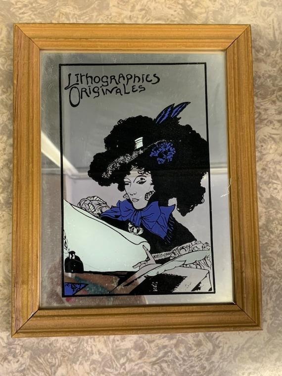 Lithographics original mirror, lady reading