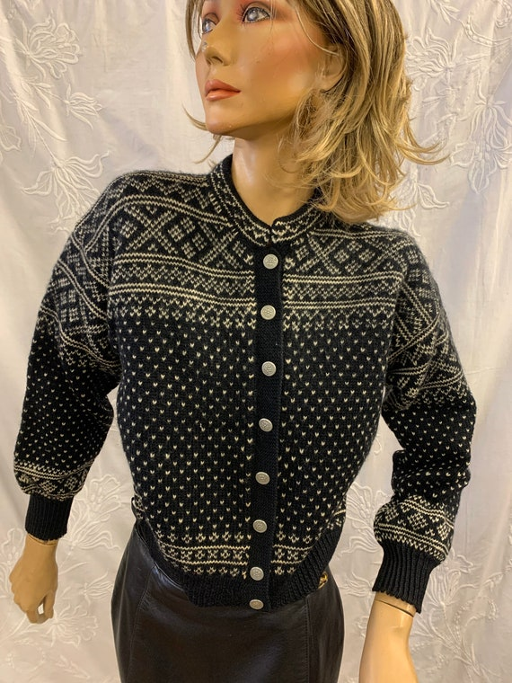 Vintage Norwegian woollen  Handmade Cardigan with Metal buttons